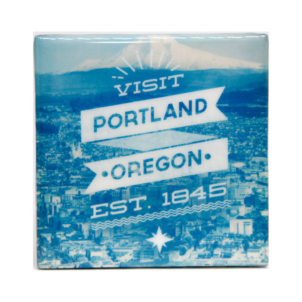 visit Portland Oregon tile coaster