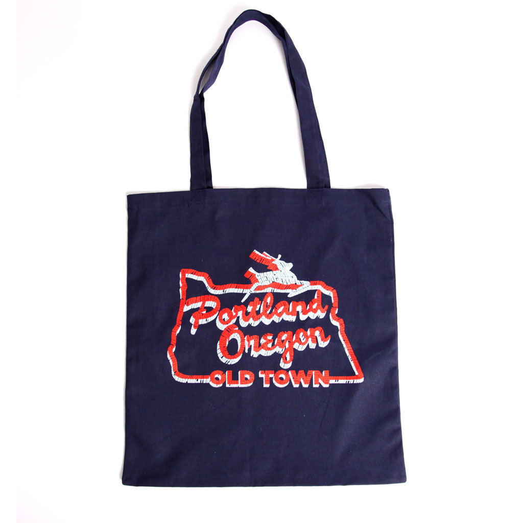 White stag Portland Oregon sign tote bag