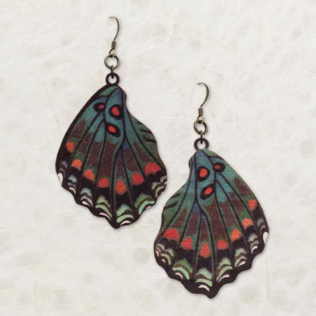 White Admiral Butterfly Wing Wood Earrings