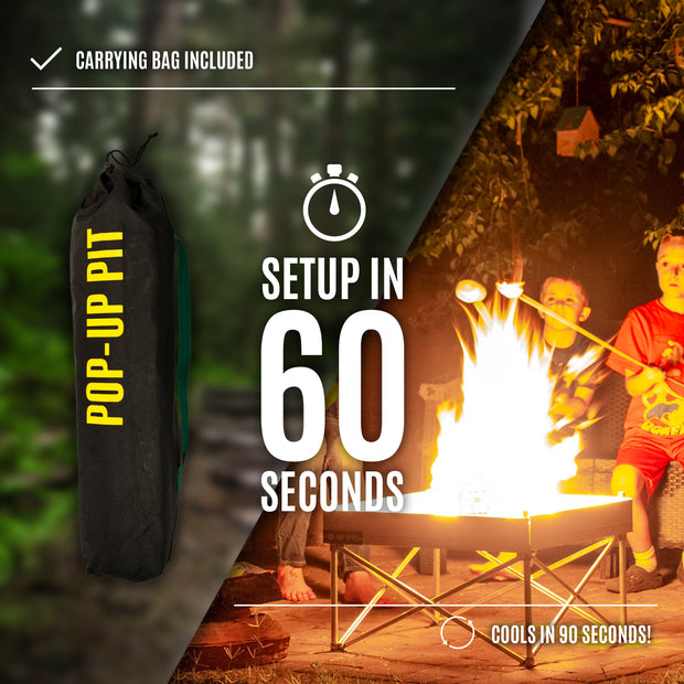 Fireside Outdoor Pop-Up Pit & Heat Shield Combo