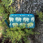 Wallet with Teal Elephant Print