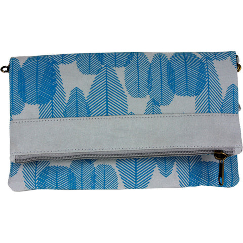 feather print convertible clutch