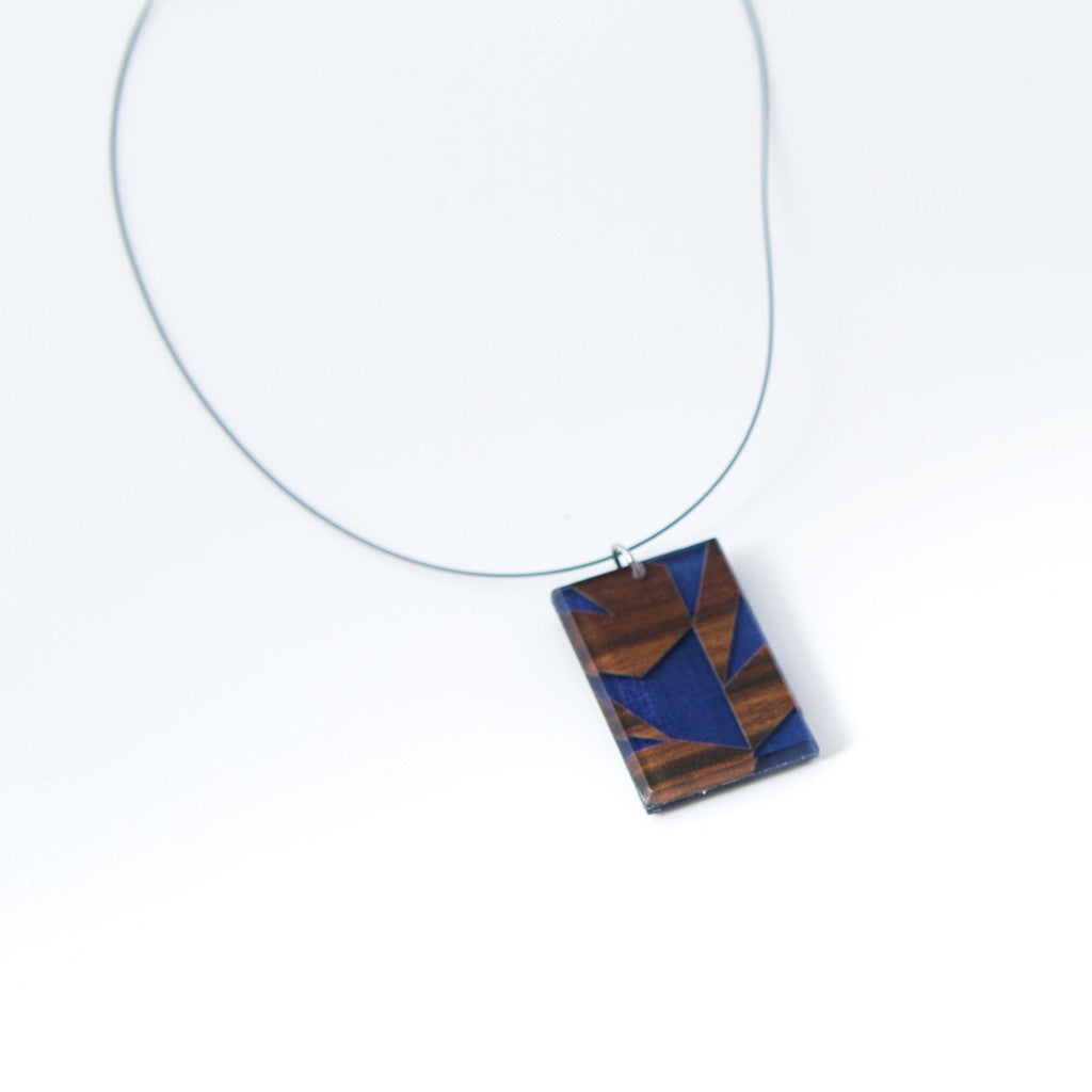 Blueberry Rosewood Eco-Resin Necklace, Handmade