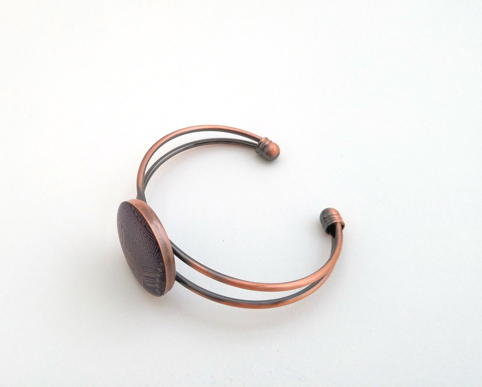 Circuit Board Copper Cuff Bracelet