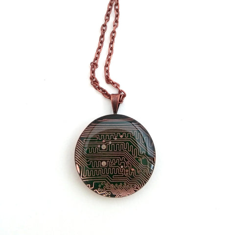 Circuit Board Copper Pendant Necklace, Handmade, Upcycled