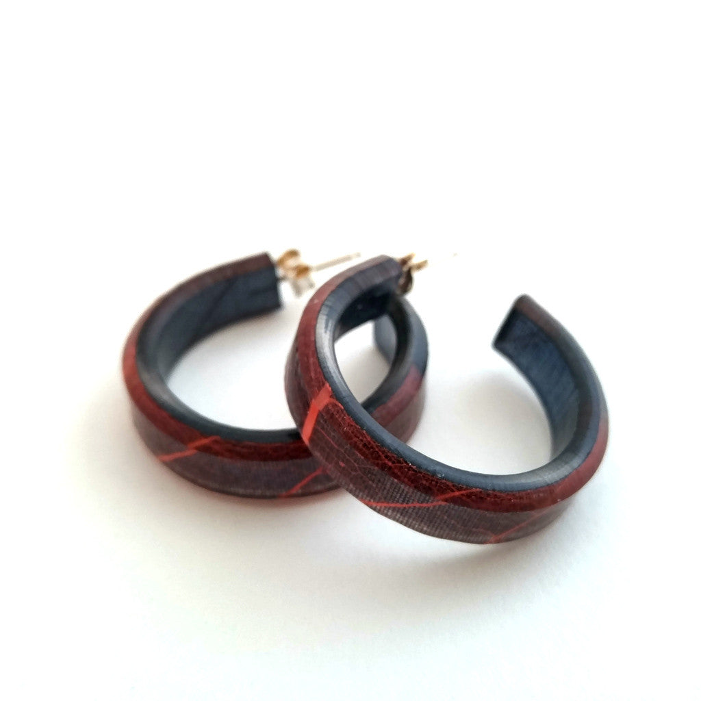 Handmade, Eco-Resin Fossil Leaf Black Hoop Earrings