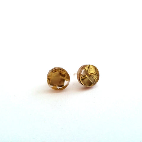 Handmade in Canada, Eco-Resin Regency Gold Stud Earrings