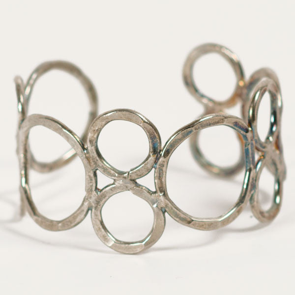 Electroplated Silver Brass Bubble Cuff