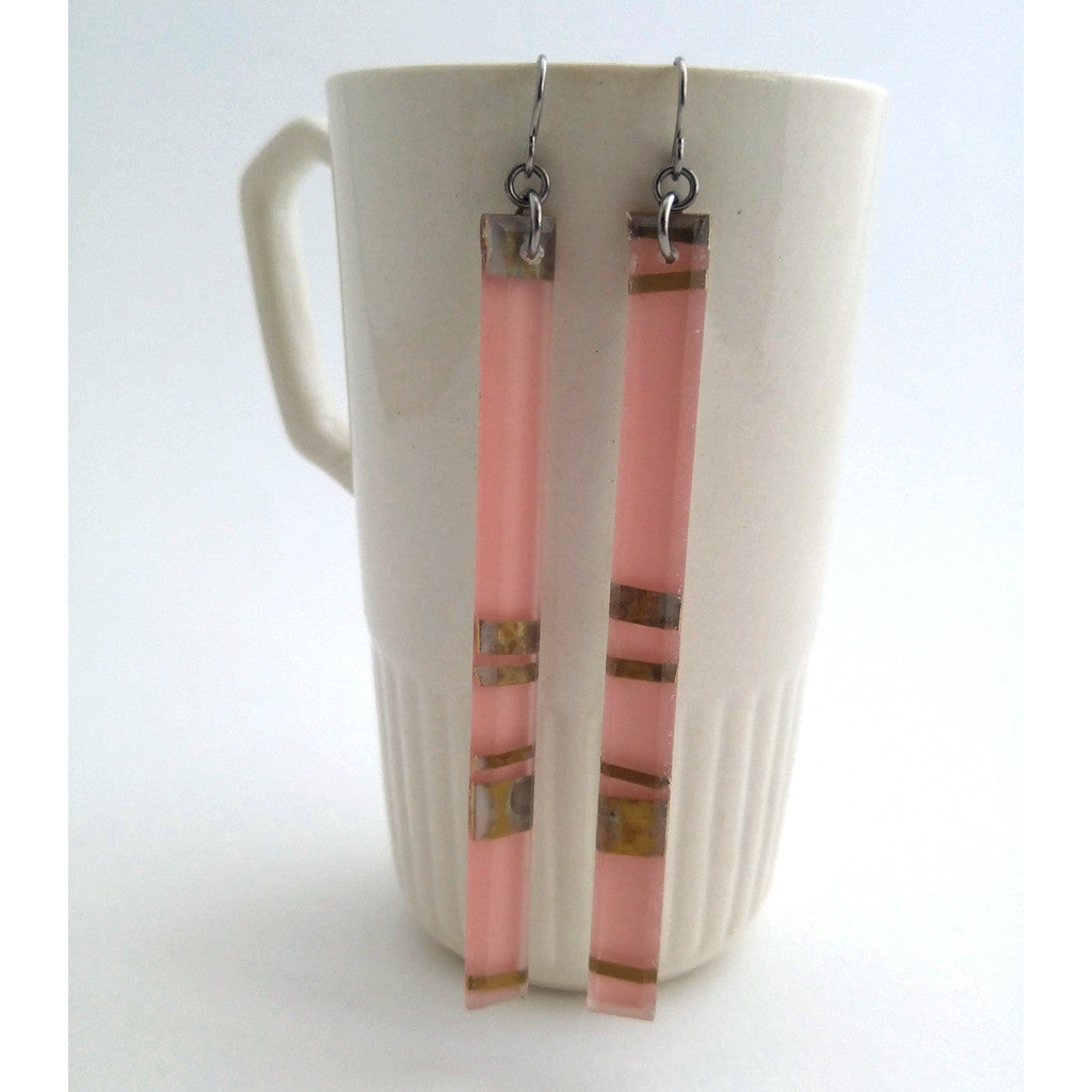 Handmade in Canada, Eco-Resin Electra Rose Earrings, shown with white mug background