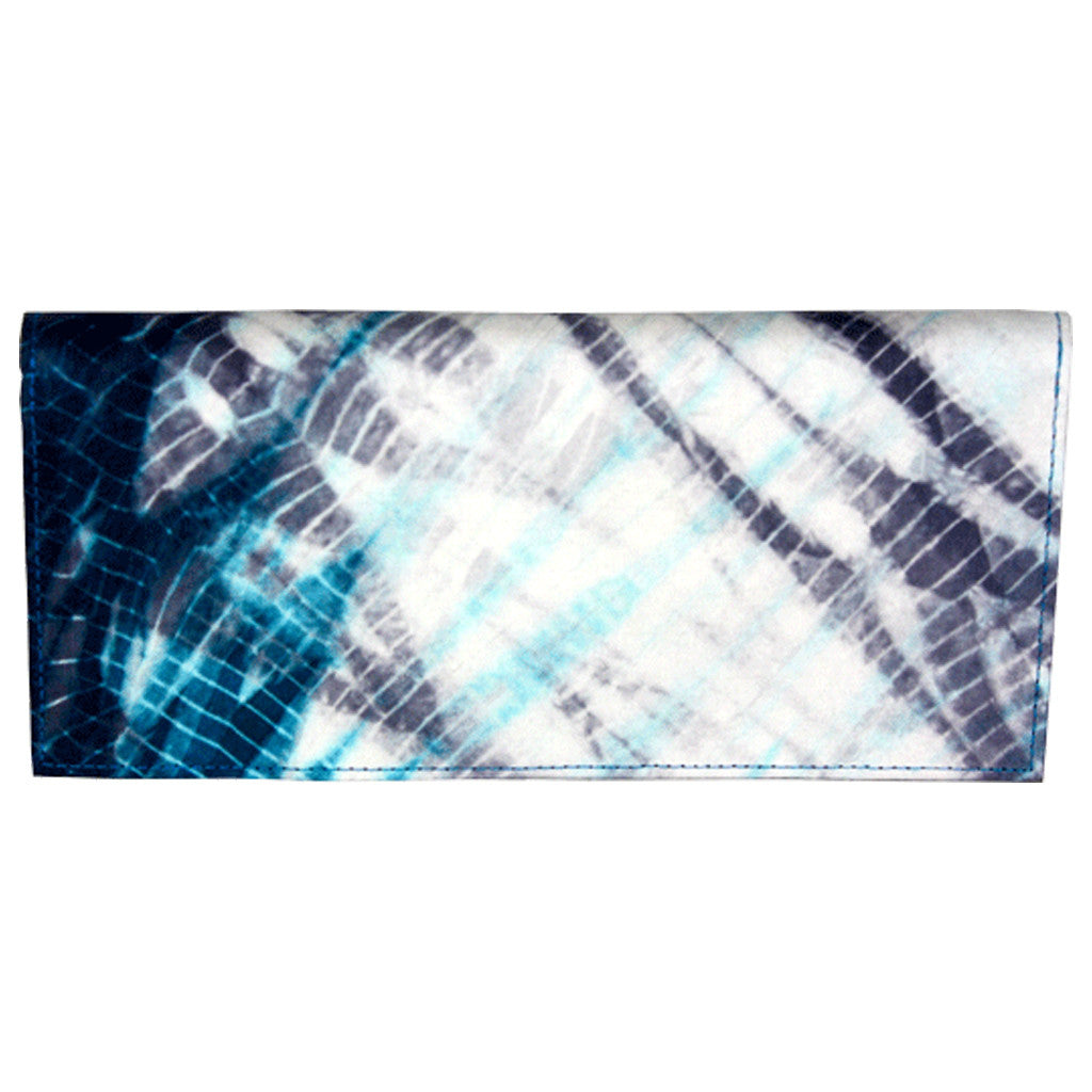 Teal Tie Dye Hand Woven Silk Wallet, Fair Trade