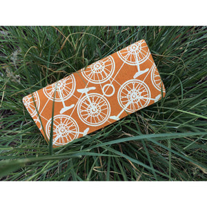 I Wanna Ride My Unicycle - Orange Silk & Cotton Wallet, Fair Trade