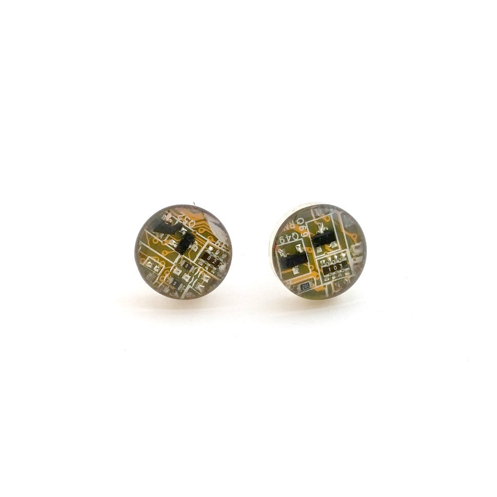 Handmade Circuit Board Stud Sterling Silver Earrings front view