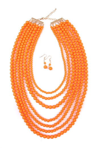 """Luxe Layers"" Necklace Set - Orange"