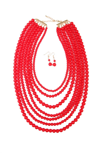 """Luxe Layers"" Necklace Set - Red"