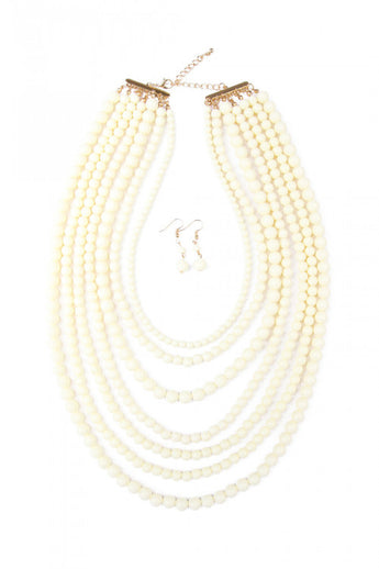 """Luxe Layers"" Necklace Set - White"