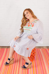 """Aloha, Hawaii"" Dress - Blue White Stripe Mix"