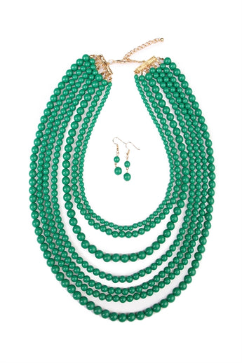 """Luxe Layers"" Necklace Set - Emerald"
