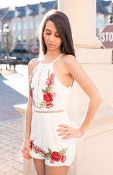 """Kahlo Me Over"" Romper - White Floral Mix"