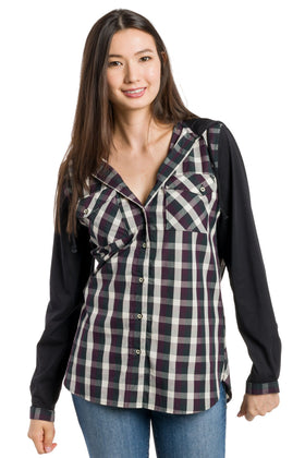 Avonlea | Long Sleeve Button Up With Jersey Sleeves