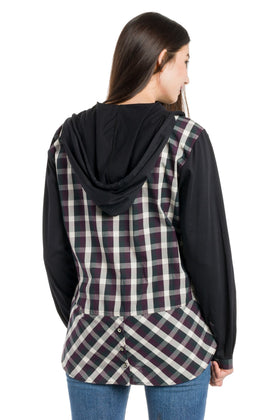 Avonlea | Women's Long Sleeve Button Up With Jersey Sleeves