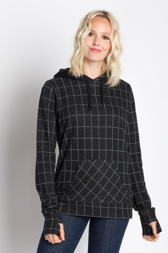 Cecilia | Women's Hooded Windowpane Lightweight Sweatshirt