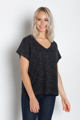 Daisy | Women's Short Sleeve Relaxed V-Neck Slub Knit Top