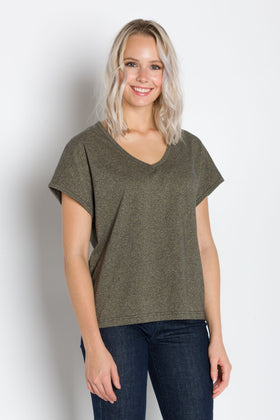 Marigold | V-Neck Grindle Jersey Top