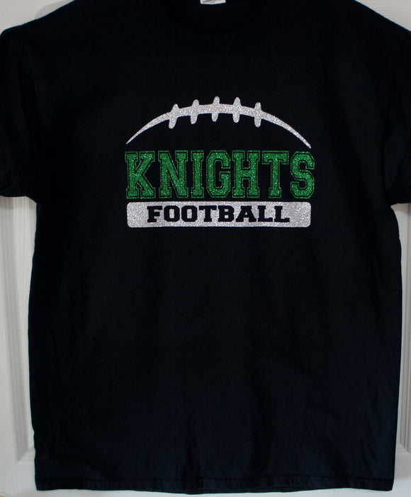 Football Team Shirt - Knights Football Shown.  Customize for your team name, colors.  Football tank, football sweatshirt, football hoodie, football long sleeves