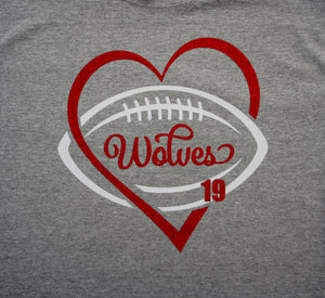 Football Shirt with Player Number - Wolves Football Shown.  Football Heart Shirt.  Customize for your team name, colors.  Football tank, football sweatshirt, football hoodie, football long sleeves