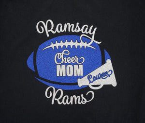 Cheer Mom Football with Megaphone Shirt, Sweatshirt, Hoodie, Tank, Long Sleeves.  Customize for your team name