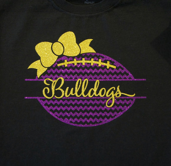 Bulldog Football Shirt with Bow Chevron Football Heart Shirt.  Customize for your team name, colors.  Football tank, football sweatshirt, football hoodie, football long sleeves