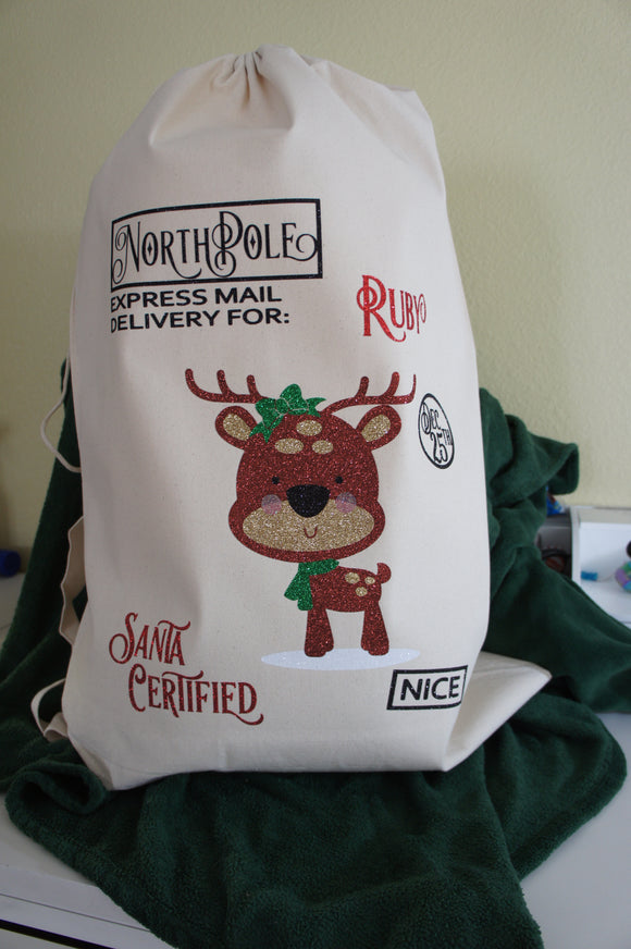 Reindeer Santa Sack Christmas Gift Bag - Santa Certified NICE - Customize for Name