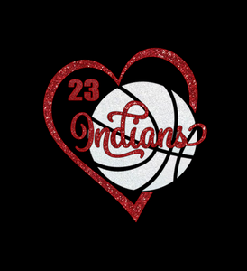 Basketball Heart Shirt with Player Number - Indians Basketball Shown