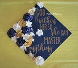 God is Within Her She Can Master Graduation Cap Topper Decoration with glitter and flowers