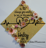 Be the Change Graduation Cap Decoration with glitter and flowers