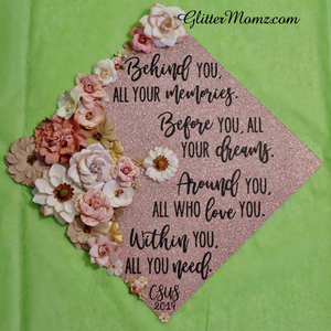 Graduation Cap Decoration Glitter With Flowers
