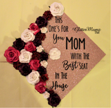 Best Seat in the House Graduation Cap Decoration with glitter and flowers