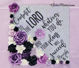 Proverbs 16.3 Commit to the Lord  Custom Graduation Topper Decoration Graduation Topper - Flowers and Glitter