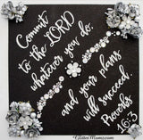 Proverbs 16.3 Custom Graduation Topper Decoration Graduation Topper - Flowers and Rhinestones