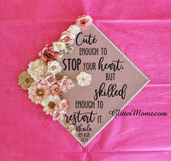 Cute Enough to Stop Your Heart Graduation Cap Topper