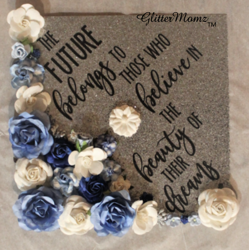 Graduation Cap Decoration with glitter and flowers