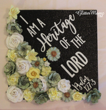 Heritage of the Lord Graduation Cap Decoration with glitter and flowers