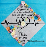 Nurse Graduation Cap Topper Save a Life Nurse with glitter and flowers
