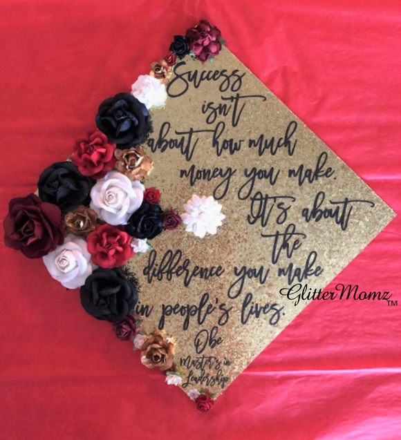 Social Worker Custom Graduation Topper Decoration Graduation Topper - Flowers and Glitter