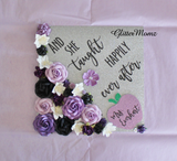 Teacher Graduation Cap Topper Decoration with glitter and flowers