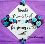 Graduation Cap Topper Thanks Mom and Dad with glitter and flowers
