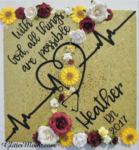 Nurse Graduation Cap Decoration With God All Things Are Possible with glitter and flowers
