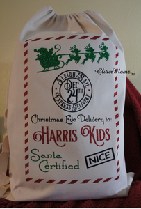 Santa Sack with North Pole Sleigh Mail Christmas Gift Bag - Santa Certified - Customize for Name