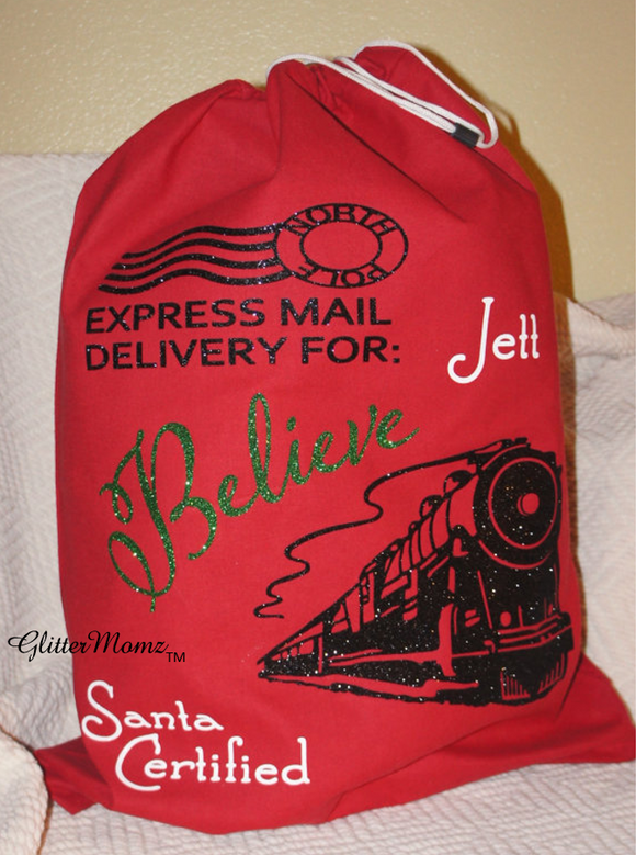 Believe Santa Sack Christmas Gift Bag with Train - Christmas Bag