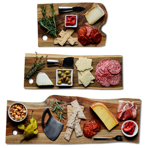 Load image into Gallery viewer, Sustainable Teak Cheese Board Bundle Pack